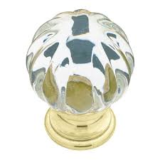 Liberty 1 1 4 in Brass with Clear Acrylic Ridge Ball Cabinet Knob