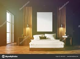 Schwarz Und Aus Holz Schlafzimmer Innenraum Getönt Stockfoto