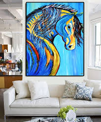 original colorful horse abstract painting 30 x40 large acrylic on canvas animal art modern ready to hang palette knife by kathleen artist