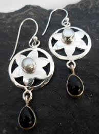 sterling silver flower earrings with pearl and black onyx designed in india