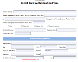 Credit Card Release Form Credit Card Authorization Form 6 Download Free Documents In Pdf Word