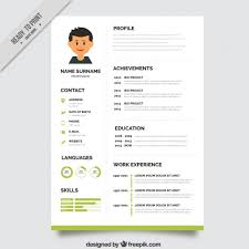 Green resume template Free Vector
