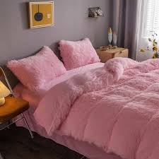 fluffy faux fur fleece bed cover set