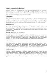 4 6 general purpose of job descriptiongeneral purpose job descriptions benefits analyst job description