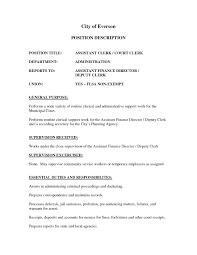 Clerk Job Description Resume Resume For Clerk Job Therpgmovie 59