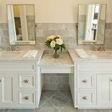Interesting set up Love It or List It Season 5 - Lyons Family En Suite Double  Vanity with makeup station Vanity: Maple stained.