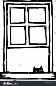 window clipart black and white. Simple Clipart Black And White Vector Illustration Of A Cat At Window Throughout Window Clipart And White