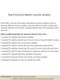 Laborer Resume Sample top10000masonrylaborerresumesamples100507230100002922lva100app61000092thumbnail100jpgcb=10010037610002100100 37