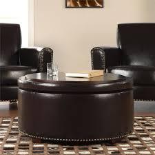 nolan bonded leather round storage ottoman espresso