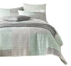 mint green gray geometric textured patchwork quilted bedspread set twin