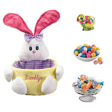 personalized pink easter basket and candy 363380