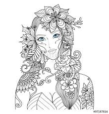 forest fairy with beautiful flowers for coloring book for