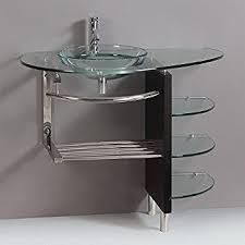 bathroom vanity combo set. Contemporary Glass Vanity Combo SET With Shelfs Bathroom Set R
