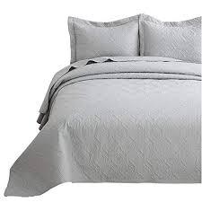 bedsure quilt set light grey twin size