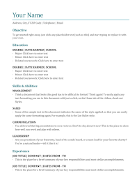 Word Document Resume Template Ckumca