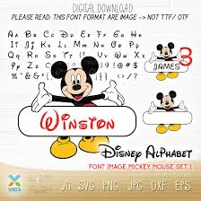Cutting file. Mickey mouse Alphabet Vectors Font Craft Supplies & Tools  Printing & Printmaking