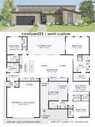 modern floor plans. Courtyard23 Semi-Custom Home Plan | 61custom Contemporary \u0026 Modern House Plans Floor T
