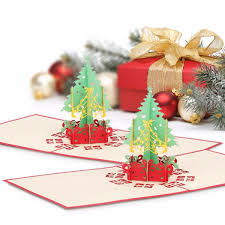 Gift Cards For Christmas Merry Christmas Gift Cards 3d Xmas Tree Laser Pop Up Folding Type Greeting Card For Navidad Natal New Year Party Favors Cards Purchasing Gift Cards