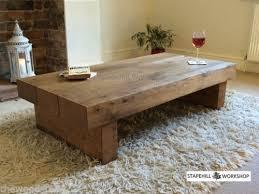 Captivating OAK BEAM/SLEEPER COFFEE TABLE, Solid Oak, Rustic, Handmade, Chunky Wood Amazing Design
