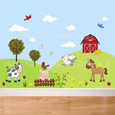 farm animal wall art nursery