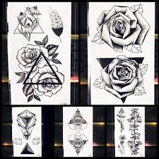 25 Pattern Geometry Black Rose Flower Temporary Tattoo Women Girl