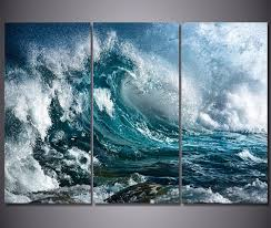 3 panel canvas wall art blue ocean sea waves painting the picture for room posters prints