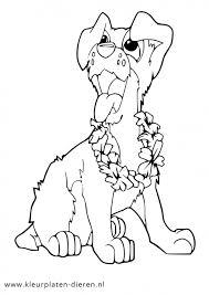 Kleurplaat Hond Met Bloemen Kleurplaten Dierenkleurplaten Dieren