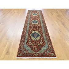2 7 x11 10 antiqued heriz re creation 100 percent wool hand knotted runner oriental rug