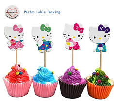 Amazoncom Hello Kitty Cupcake Toppers Party Pack For 24 Cupcakes