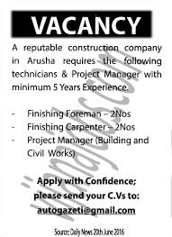 finishing foreman finishing carpenter project manager tayoa job description