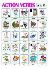 Verb Action Pictionary Action Verb Set 1 From A To D English Esl