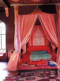 Red Bedroom Bench Moroccan Themed Bedroom With Red Bed And Canopy And Pink Lace