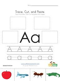 A printable book with color words and crayons to cut out, match, and paste. Trace Cut And Paste Letter A Worksheet All Kids Network