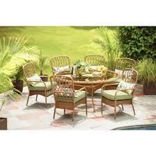 hampton bay patio dining set. clairborne 7-piece patio dining set with moss cushions - the open box shop hampton bay