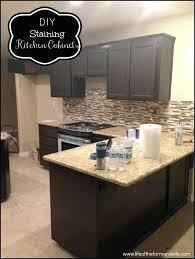 tea staining unfinished oak cabinet kitchen cabinets dark diy refinishing white full size