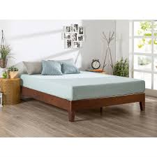 queen size modern low profile solid wood platform bed frame in