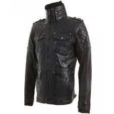 mens vintage black leather quilted biker jacket