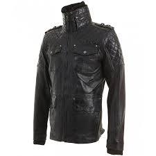 mens vintage black leather quilted biker jacket