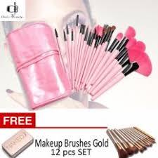 24pcs professional makeup brushes set pink w free make up brushes gold