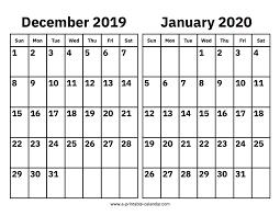 Blank Dec 2020 Calendar December 2019 And January 2020 Calendar