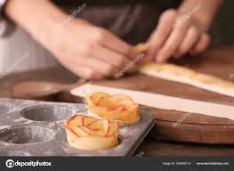 Baking Mold Apple Roses Puff Pastry Kitchen Table Blurred Woman