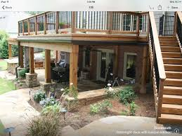 Deck Designs With Storage Underneath Under Deck Columns With Stacked Stone Base Retaining Wall