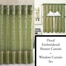sage shower curtain and 3 pc window curtain set bathroom decor double layer