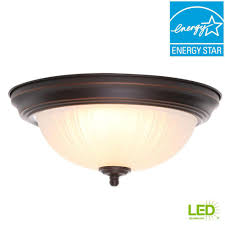 commercial electric 11 in 100 watt equivalent oil rubbed bronze integrated led flushmount
