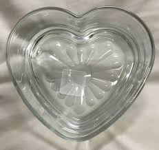 thick glass heart shaped candy dish decorative bowl 6 long x 1 5 deep inch
