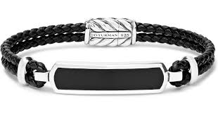 david yurman woven leather sterling silver and onyx bracelet in black for men lyst