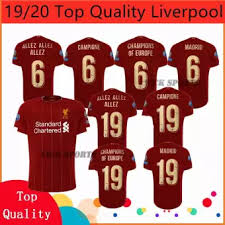 19 20 Newest Allez Campione Madrid Champions Of Europe No 6 No 19 Liverpoolfc Full Ucl Patch Home Football Jersey Soccer Training Shirt For Men