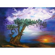 the tree in sunset oil painting