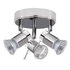 Aries Ip44 Chrome Satin Silver 3 Light Spotlight Light Fixtures