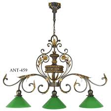 1920 s pool table triple light fixture touching back on victorian with scrolling arms and fl accents this light would have originally been used for a